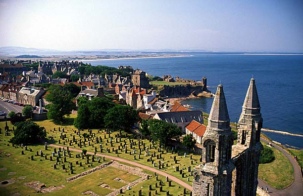 A VIEW OVER THE TOWN OF ST. ANDREWS, LOOKING NORTH FROM ST. RULES TOWER WITH THE REMAINS OF THE CATHEDRAL IN THE FOREGROUND, FIFE.PIC:PAUL TOMKINS/VisitScotland